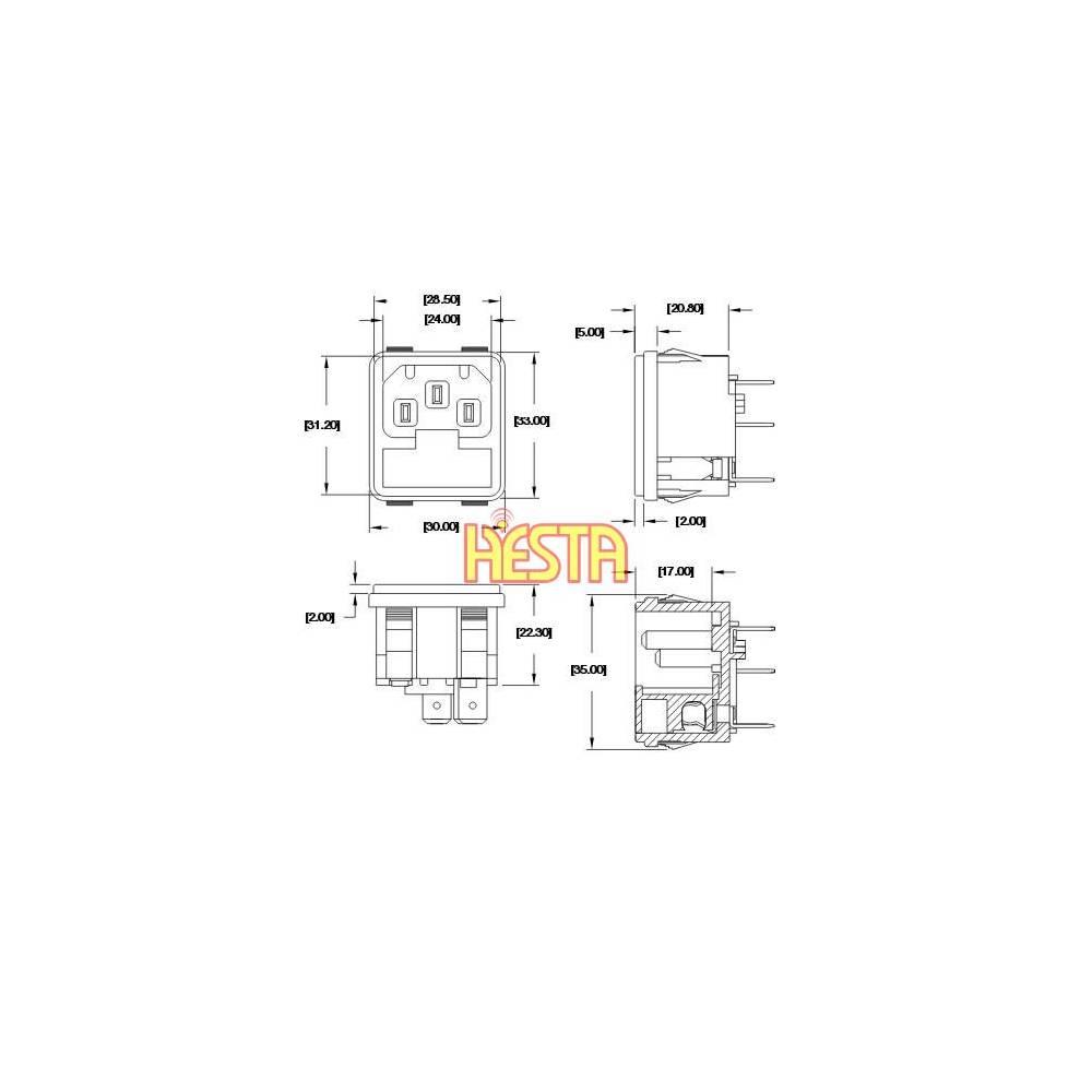 AC 230V inlet socket for Waeco CF, CR, CFX portable fridge - P.U.H. Waeco Refrigerator Wiring Diagram on