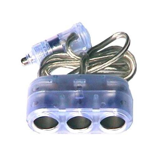 Three way car cigarette lighter socket splitter with cable