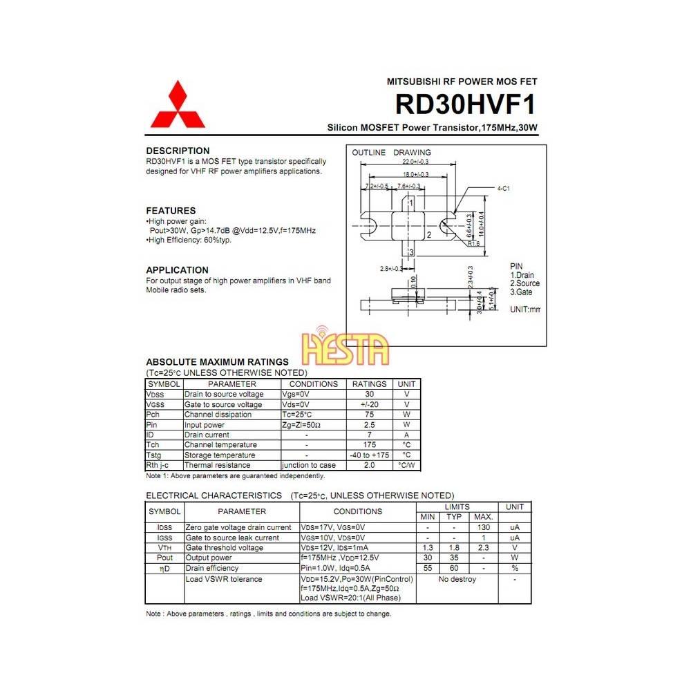 RD30HVF1 Mitsubishi Transistor - RF Power Amplifier - P U H  HESTA