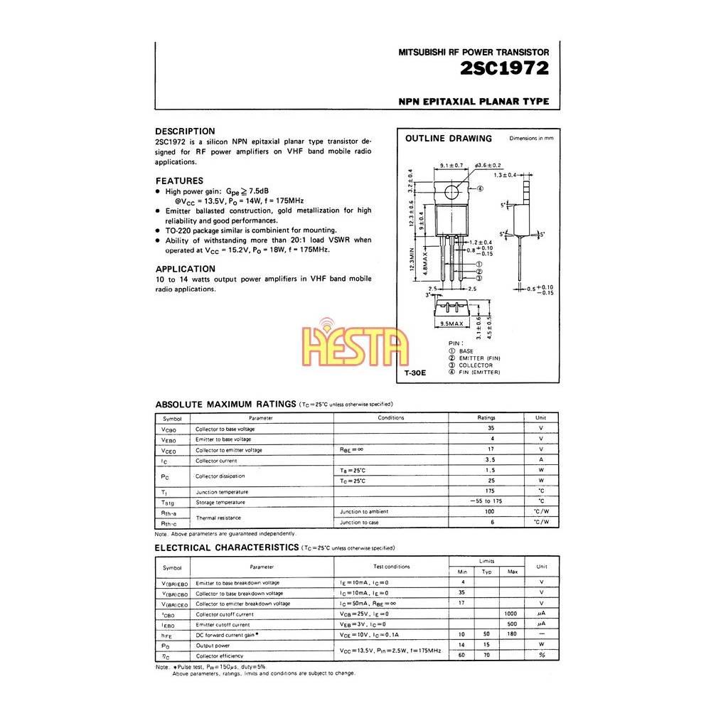 2sc1972 transistor rf power amplifier p u h hesta. Black Bedroom Furniture Sets. Home Design Ideas