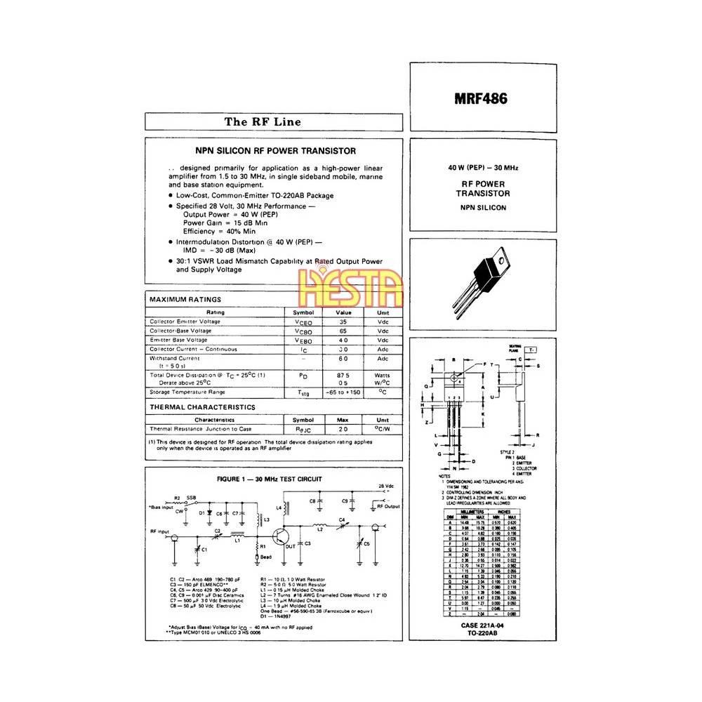 mrf486 transistor - rf power amplifier