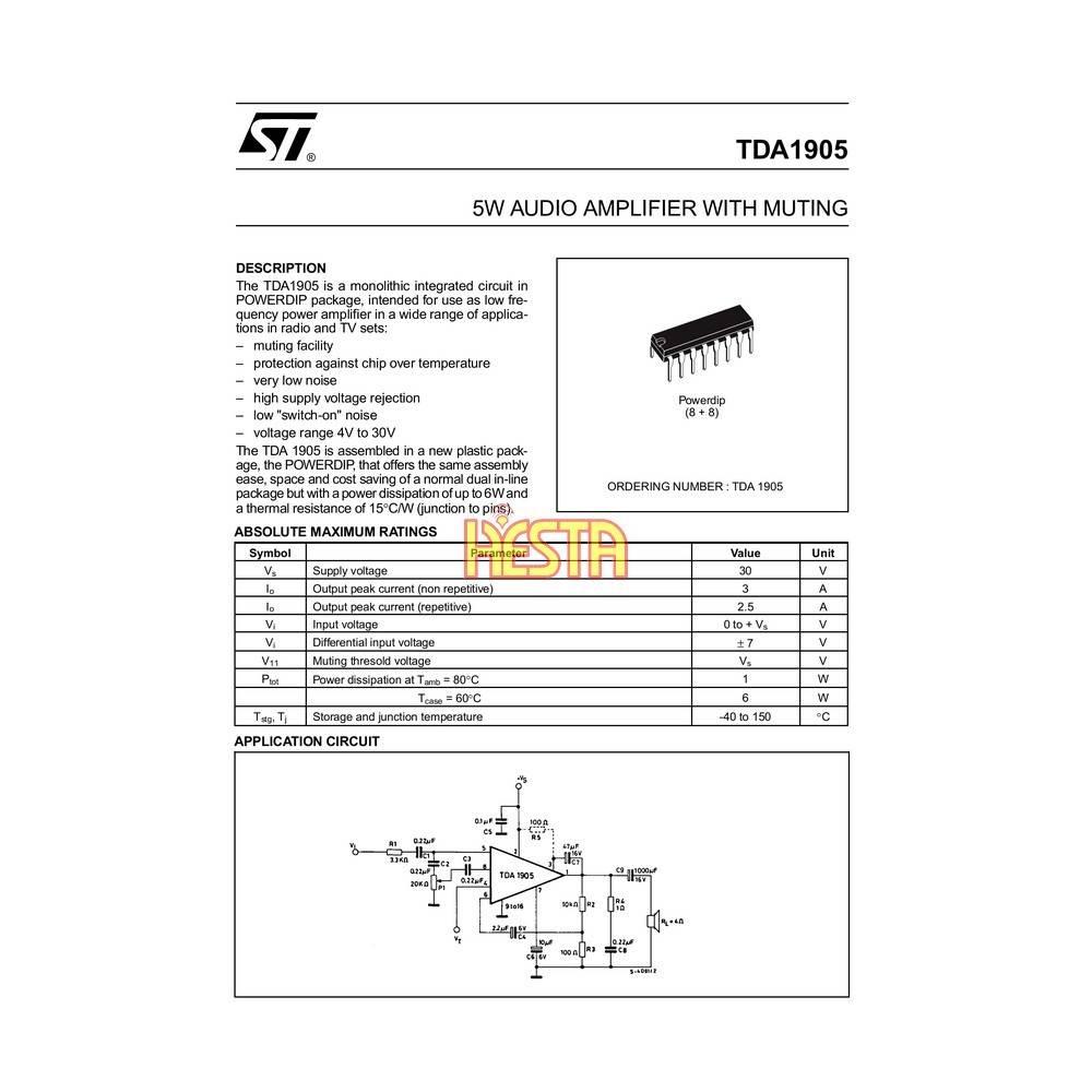 Integrated Circuit TDA 1905 CB Radio Audio Power Amplifier - P U H