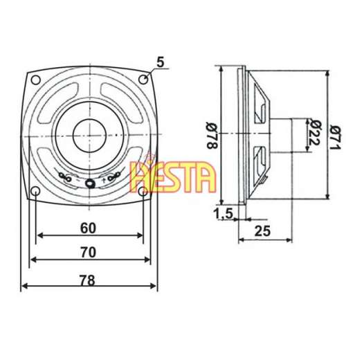 Internal Speaker for CB Radio President / Uniden 78x78mm