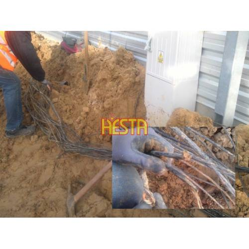Searching for damaged cables, wires location in the ground and repairing them